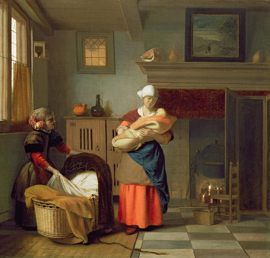 Pieter de Hooch, kindermeisje met baby in een interieur en een jong meisje bij de wieg.jpg