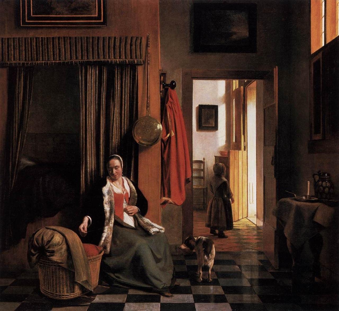 Pieter de Hooch, Moeder rijgt haar lijfje naast een wieg.jpg